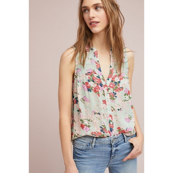 Anthropologie Meadow Rue Pintucked Button Down
